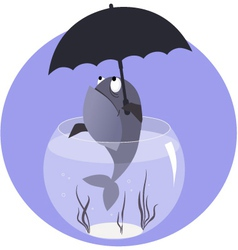 Fish with umbrella vector