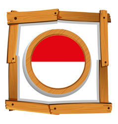 flag of indonesia on round frame vector image