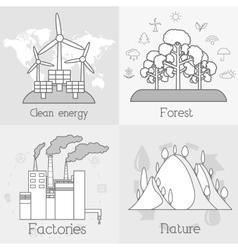 Flat set of ecology environment green clean vector