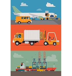 Freight and Airways and Seaways Transport vector image