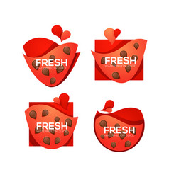 Fresh collection of sweet and shine watermelon vector
