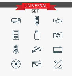 gadget icons set with tablet projector sputnik vector image