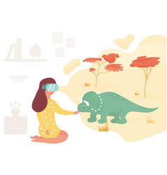 Girl in virtual reality meeting dinosaur vector