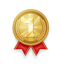 gold award sport 1st place medal red ribbon vector image