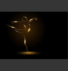 golden ballerina on dark background vector image