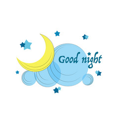 Good night young month stars cloud and font vector