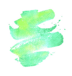 Green watercolor brush stroke background vector