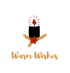 hand drawn greeting card with candle vector image