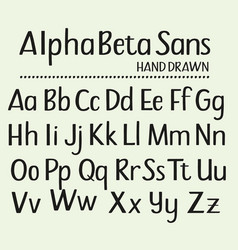 Hand drawn sans serif alphabet containing all vector