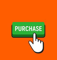 Hand mouse cursor clicks the purchase button vector