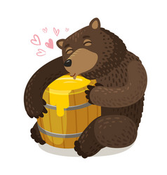 Happy bear hugs wooden barrel of honey cartoon vector