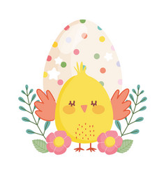 Happy easter little chicken dotted egg flowers vector