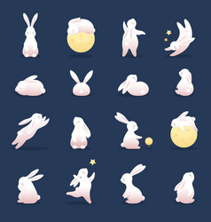 happy rabbit set mid-autumn festival elements vector image