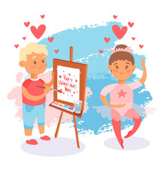 happy valentines day kid couple romantic vector image