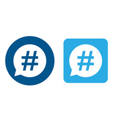 hashtag icon set in speech bubble vector image