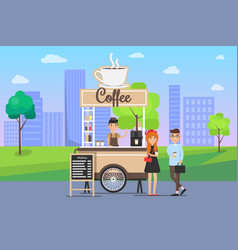Hot coffee street cart with vendor and buyers vector