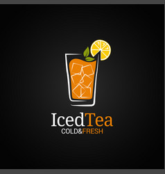 Ice tea glass logo cold iced tea on black vector