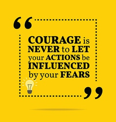 Inspirational motivational quote Courage is never vector image