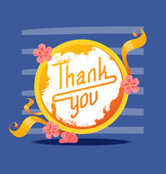 lettering thank you in round frame banner vector image