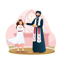 Little girl in white dress is taking communion vector