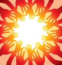 many hands around hot sun vector image