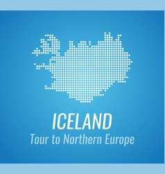 map silhouette of iceland with caption and vector image