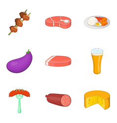 meat on stick icons set cartoon style vector image