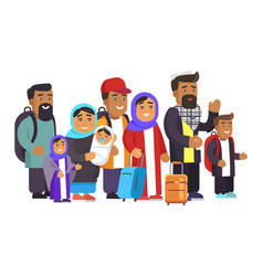 Muslim family traveling days vector