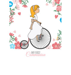 My first communion card girl riding vintage bicyc vector