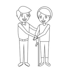 Older woman grandma with young man holding hands vector