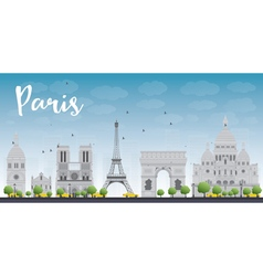 Paris skyline with grey landmarks vector image