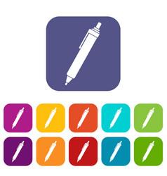 Pen icons set flat vector