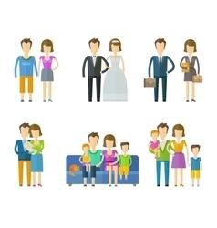 people folk logo design template wedding vector image