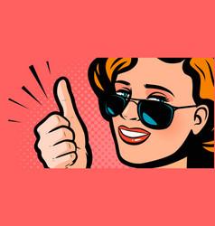 Pretty girl showing thumbs up retro comic pop art vector