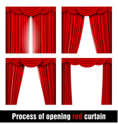 process of opening red curtain vector image