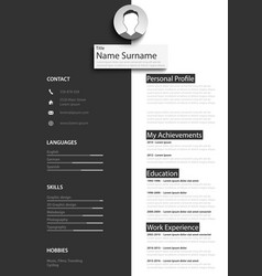Professional black white resume cv template vector