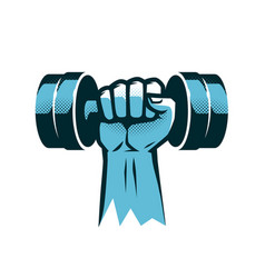 raised arm with dumbbell gym logo or label vector image