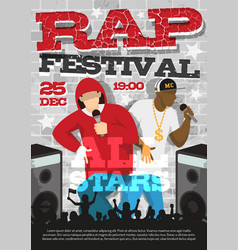 Rap music festival announcement poster vector