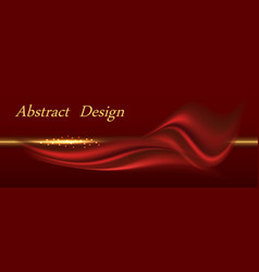 Red satin fabric with gold luxurious background vector