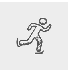Running man sketch icon vector