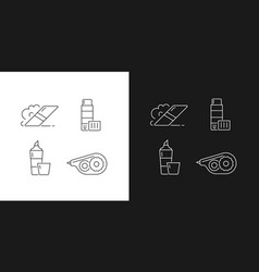 School accessories linear icons set for dark vector