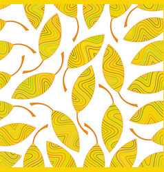seamless pattern of yellow striped leaves vector image