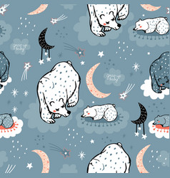seamless pattern with cute mom and baby bear on vector image
