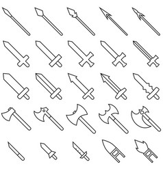 Set 25 outline weapon icons isolated on white vector