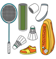 set badminton equipment vector image