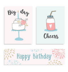 set birthday greeting cards invitations vector image