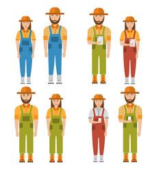 set happy farmers man and woman smart farming vector image