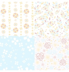 Set of light flower pattern vector image