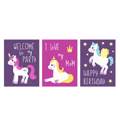 Set of unicorn greeting and invitation party cards vector