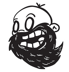 simple black and white bearded bald man vector image
